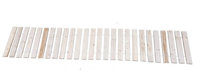 Measuring \17.5 inches wide by 94 inches long, a white cedarGarden Walkway is \$35 from Tidewater.