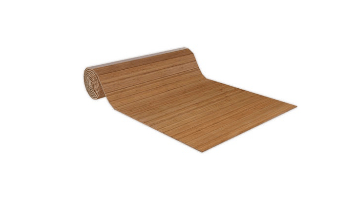 A slatted \10-foot-long Soft Bamboo Roll is generously sized at 60 inches wide; \$449.50 from All Mats.