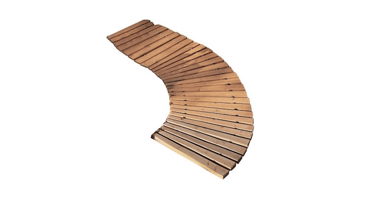 A 48-inch cedar Portable Roll-Out Curved Wooden Walkway is \$39.95 from Wayfair.