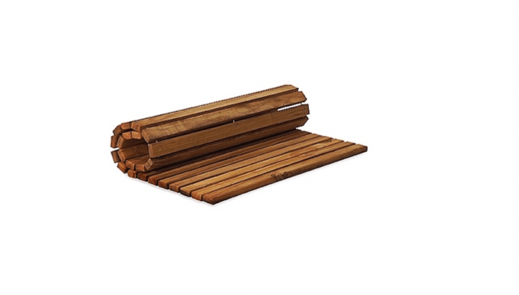 A rollout Teak String Mat measures \19.75 inches square and several can be laid end to end to make a portable garden walkway; \$65.99 apiece from Bed, Bath & Beyond.