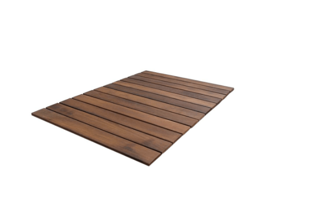 A 3-foot roll of Roll-Out Wood Deck Tile has a \25-year warranty against decay; \$43.07 from Home Depot.