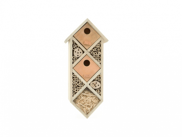 A Diamondback Bee House also has wood shavings to attract ladybugs. It comes with a hanger on the back and is \$\29 from Bambeco.