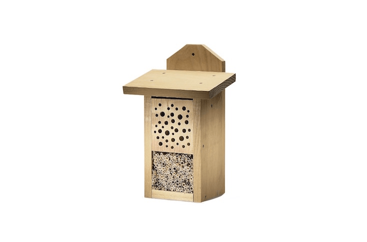 Divided into sections of wood and reed cane to appeal to a variety of species, a Robinia Wild Bee House is €50 from Manufactum.