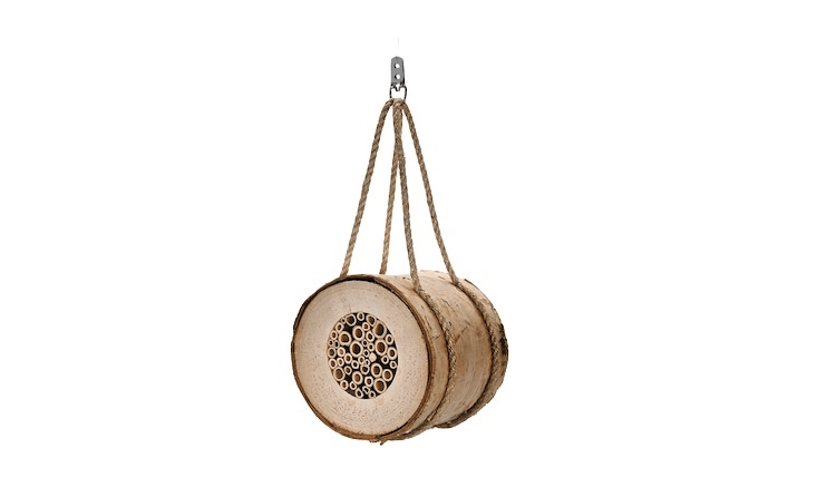 A hollow birch Bees&#8\2\17; Nest is fitted with reeds and has a sisal cord; it can be suspended from a hook or branch. It is €3\2 from Manufactum.