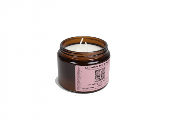 From Brook Farm General Store, an \18-ounce Candle Le Jardin De Kipling (made in France) is scented with essential oils of ginger, lotus, and citronella; \$65.