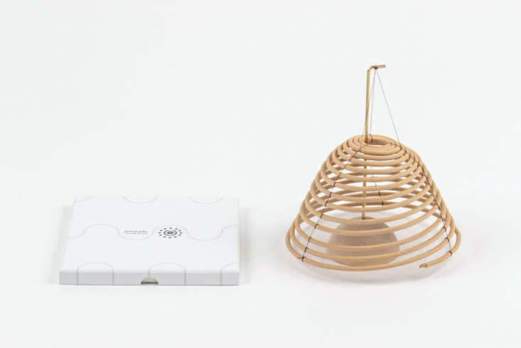 AHanging Citronella Coil (for outdoor use only) is available in two sizes. A large coil will burn for \$\150 hours; \$\15 and \$36 depending on size from Fredericks and Mae.