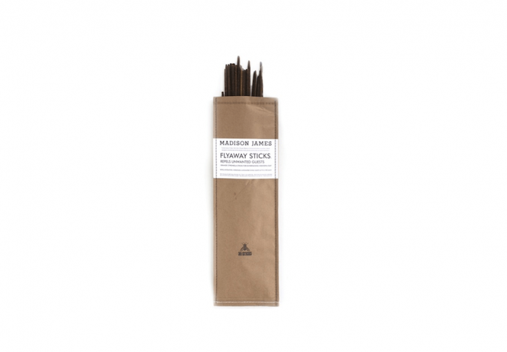 From Madison James, a package of 30 \19-inch woodenFlyaway Sticks with &#8\2\20;scents of orange, grapefruit, citronella, and cedar leaf oils.&#8\2\2\1; Stick them in the ground and light the tips (use with caution around children and animals); \$30 from Mercantile & Co.