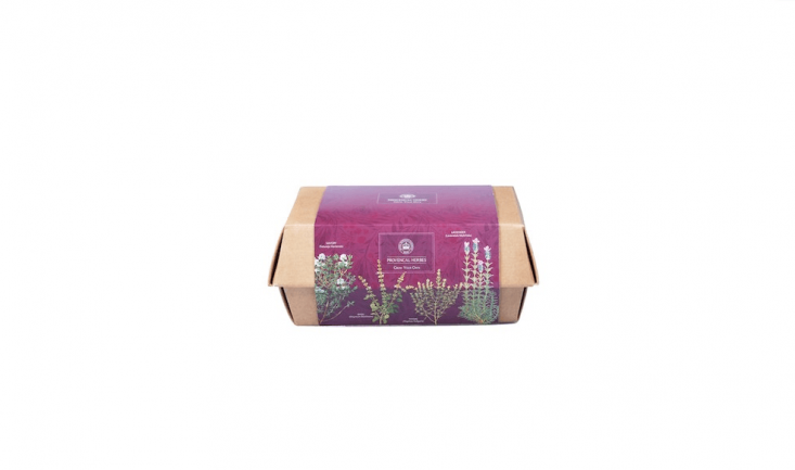 From the garden shop at the Royal Botanic Gardens, Kew, a Box Herbes de Provence kit includes a cardboard planting box, a peat-free compost growing medium, and savory, basil, thyme, lavender seeds. It is £ from Kew.