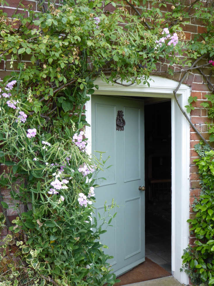 The south-facing side of the cottage, which looks onto the garden, is generously swathed with climbing roses, honeysuckle, wisteria, and perennial sweet peas which elegantly arch over the most used door into the garden.