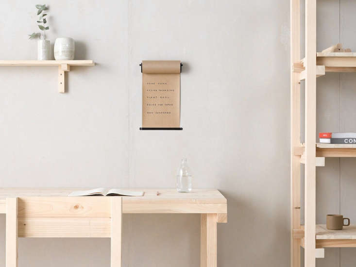 Margot rounded up the most stylish vintage-inspired office accessories in \10 Easy Pieces: Old-School Office Supplies to Keep You Organized, including this wall-hung roll of kraft paper by George & Willy. (They all work great in the kitchen as well.)