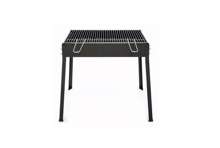 Available through German shop Magazin, the Flower Grill is small for a two burner-wide grill (30 inches wide and  inches deep) and is made of lacquered steel with a chrome-plated steel grill; €loading=