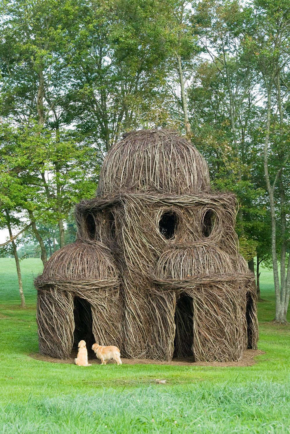 Chapel Hill, NC-based environmental artist Patrick Dougherty roams the country creating elaborate, site-specific woven sapling installations.