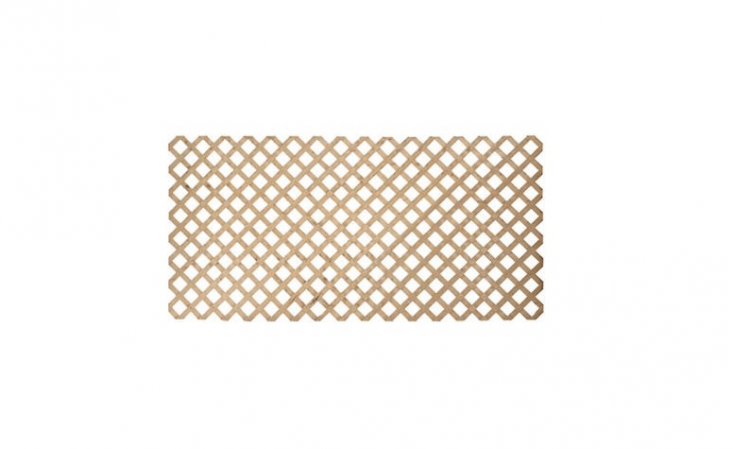 An 8-by-4-foot wood panel of Pressure Treated Lattice resists rot, termites, and harsh weather conditions; available in stores only at Home Depot or online for $.49 per panel from NJ Supply.