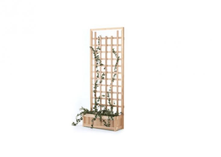 Constructed of cedar wood, a freestanding