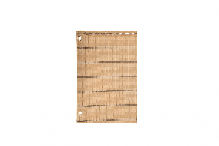A Decorative Woven Privacy Screen has brass eyelets and buttonholes to make it easy to attach to fence posts or a railing. Made of UV-resistant HDPE plastic and available in two colors, it is £99.99 from Crocus.