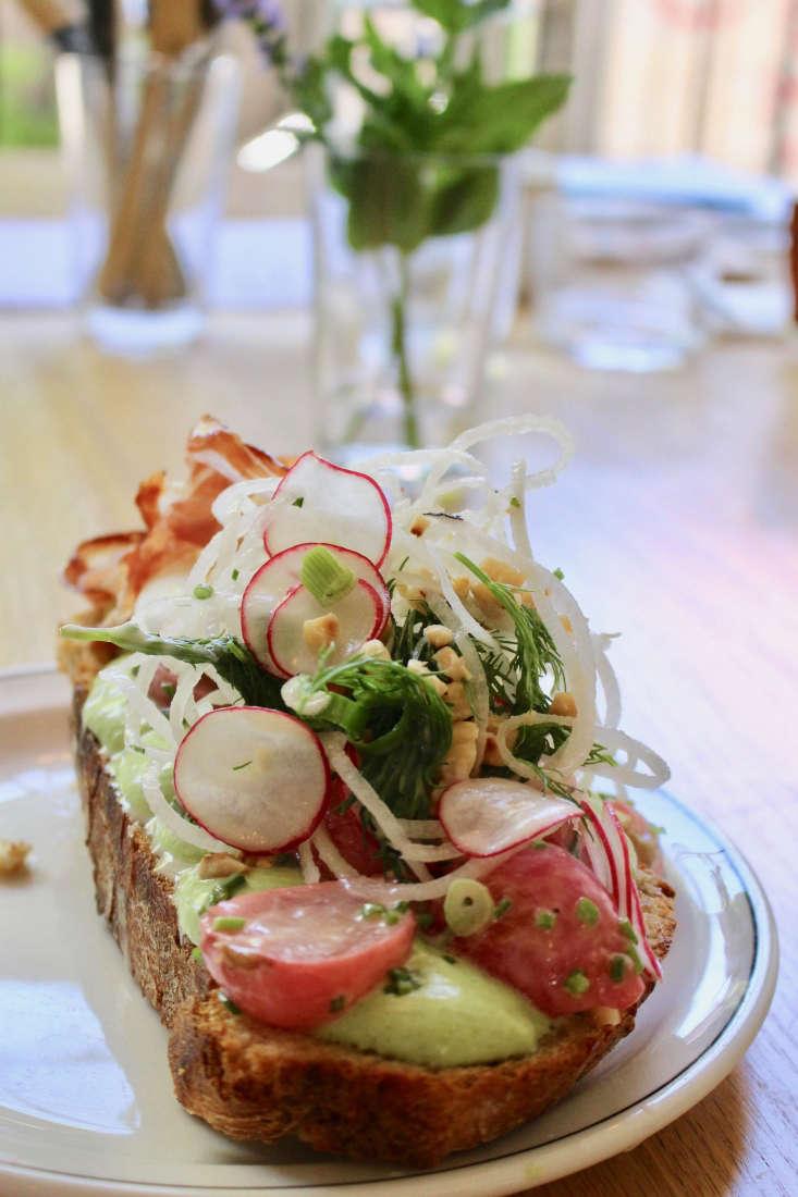 A radish and egg tartine by chef Jens Ruoff.
