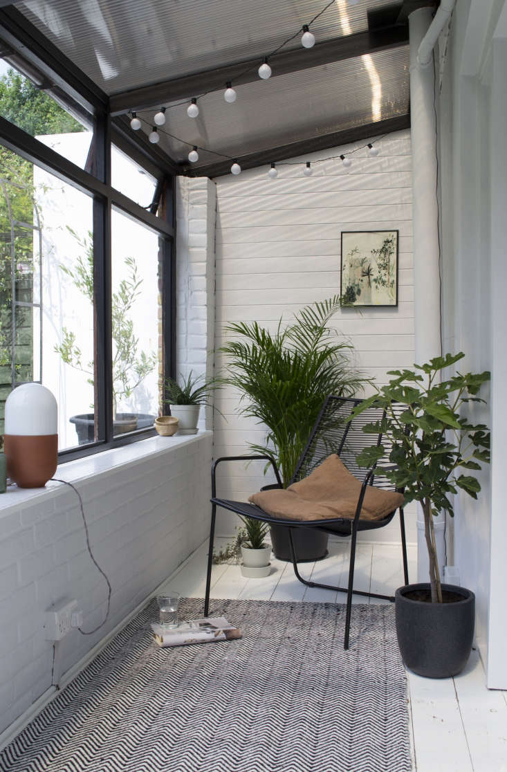 The sunroom faces southwest and gets full sunlight all day long.