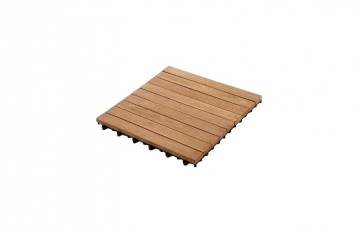 Square -inchKontiki Interlocking Wood Floor Tiles, made from recycled wood ofBangkirai trees native to Asia, are from $4.09 to $4.49 per square foot depending on the quantity you order from BuildDirect.