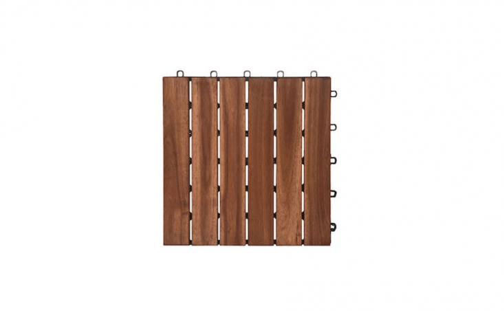 A box of  6-slat Contemporary Wood Floor Tiles made from sustainably harvested acacia (each measuring loading=