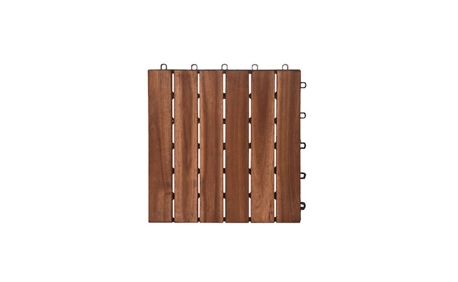A box of  6-slat Contemporary Wood Floor Tiles made from sustainably harvested acacia (each measuring src=