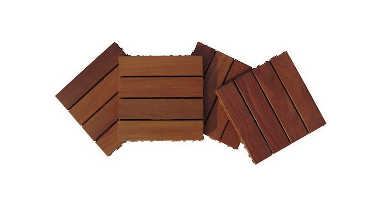 Made from Brazilian hardwood, 4-slat Cumaru Wood Deck tiles are available in -tile cartons; contact iPool Supplies for more information and pricing.