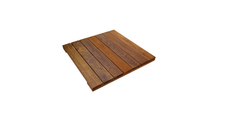 Made of ipe, Solid Hardwood WiseTiles measure  inches square and are $.93 apiece from Home Depot.