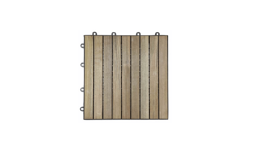 A -square-foot box of unfinished interlocking Teak Decking Tiles made of reclaimed wood will weather to a silvery gray; $65 fom Terramai.
