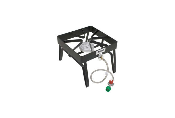 The Bayou Classic Barbour International SQ\14 Outdoor Patio Stove is made of steel, can accommodate any size stock pot, and is a single burner stove; \$49.97 at Amazon.