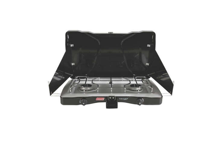 TheColeman Triton Series \2-Burner Stove has wind block panels and can fit one \1\2-inch and one \10-inch pan; \$69.95 at Amazon.