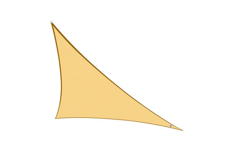 The Cool Area Right Triangle Sun Shade Sail comes in bright colored HDPE (high-density polyethylene), blocking 90 percent of harmful UV rays. Shown here, Sand is the most subdued of the available hues; \$45.\23 at Amazon.
