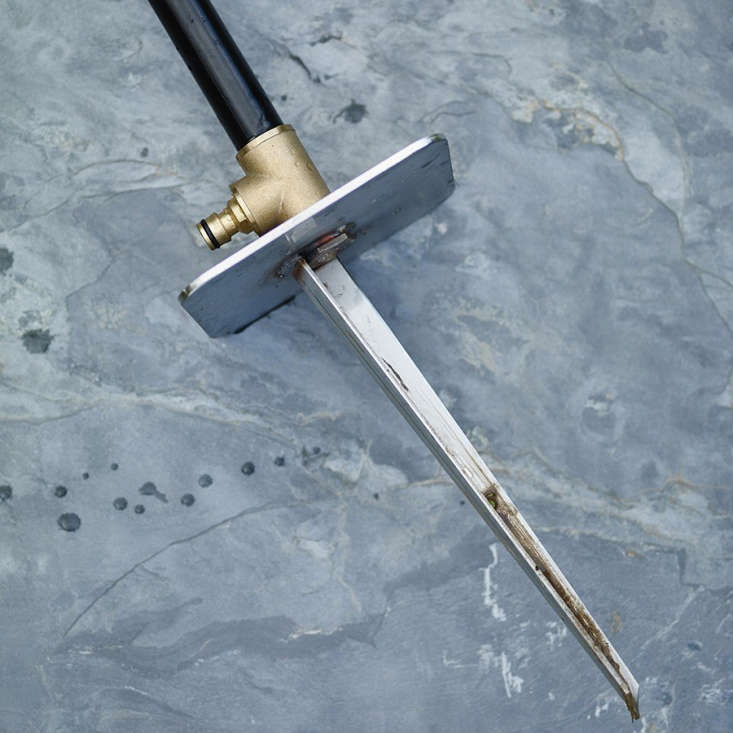 The stainless steel stake.