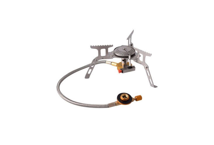 The Papaco Mini Camping Gas Stove packs into a storage box for backpacking and can support cookware as large as \18 liters; \$\13.99.