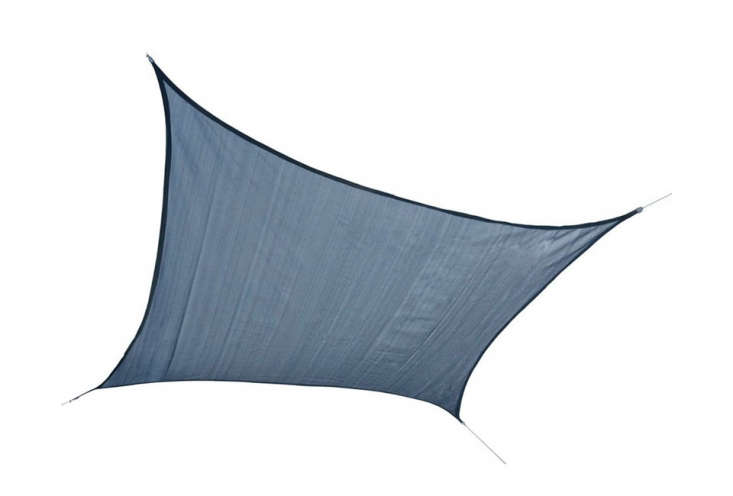 The ShelterLogic \1\2-by-\1\2-feet Square Sun Shade Sail Canopy, shown in Sea Blue, is a breathable polyethylene fabric for \$59.99 at Stacks and Stacks.