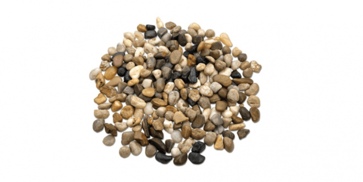A \2-pound bag of Small Decorative River Rockscan be used an attractive surface layer on a potted plant; \$\1\2.6\2 via eBay.