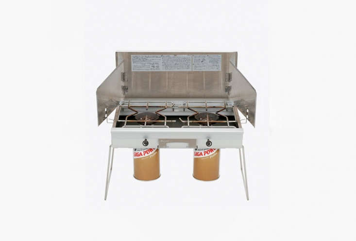 The Snow Peak Double Burner Stove is made of stainless steel and packs up with a cover and carrying case; \$400.