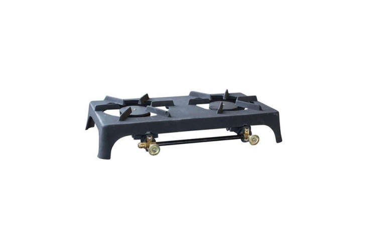 The Sportsman Double Burner Cast Iron Stove is a solid piece of cast iron that connects to a LP via a hose kit sold separately; \$44.99 at Home Depot.