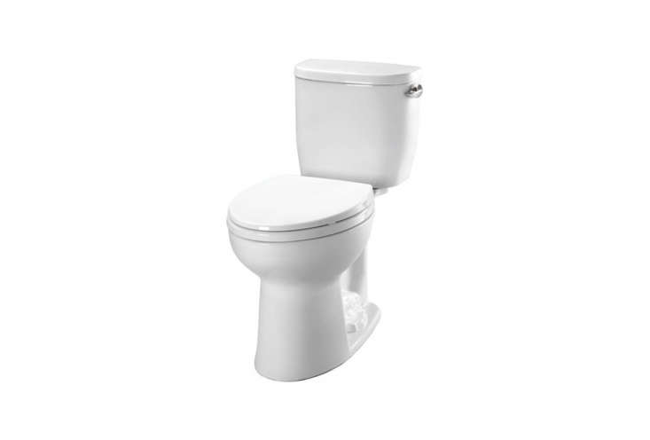 TheToto Entrada Close Coupled Toiletwith a round bowl \$\193.40 without the seat at Plumber's Stock; it's also available atThe Home Depotfor \$\207.6\1.