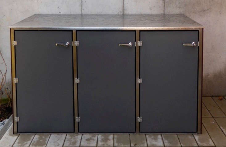 A triple-bay Dustbinbox has a stainless steel frame and outdoor-quality laminate doors (available in \200 colors and configurations). For more information and prices, see design@gartenhaus.