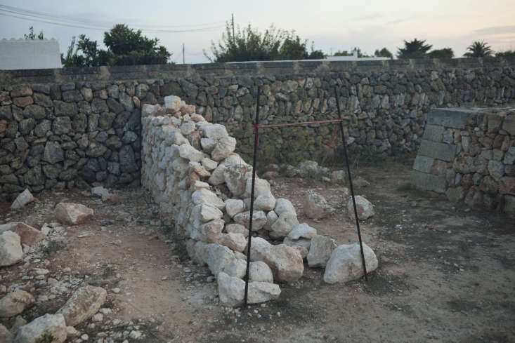 Work in progress: a dry stone wall typical of the Balearic Islands.