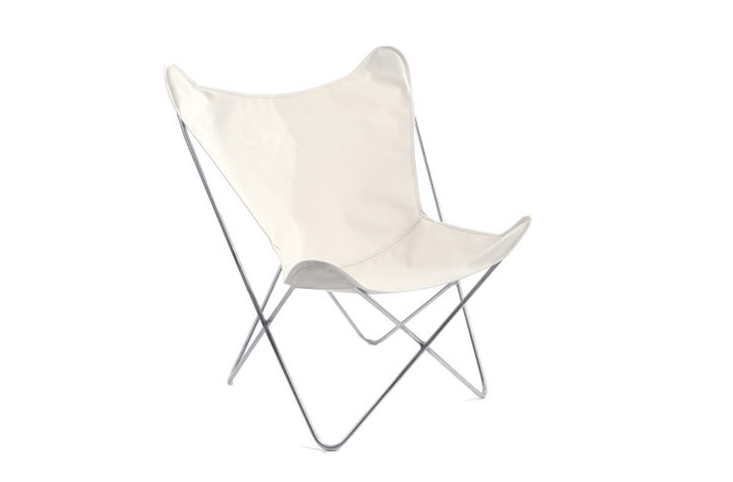 A classic design that looks as comfortable indoors as out (bring it inside for extra seating in winter months), a Butterfly Chair with a stainless steel frame and white canvas cover is \$350 from Circa 50.