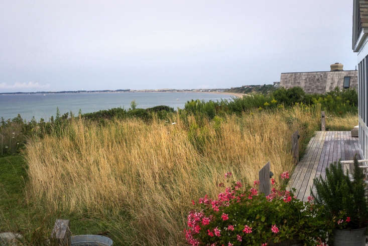 Along the bayside of the house, a simple path mowed through the meadow allows for a breathtaking cliff walk.