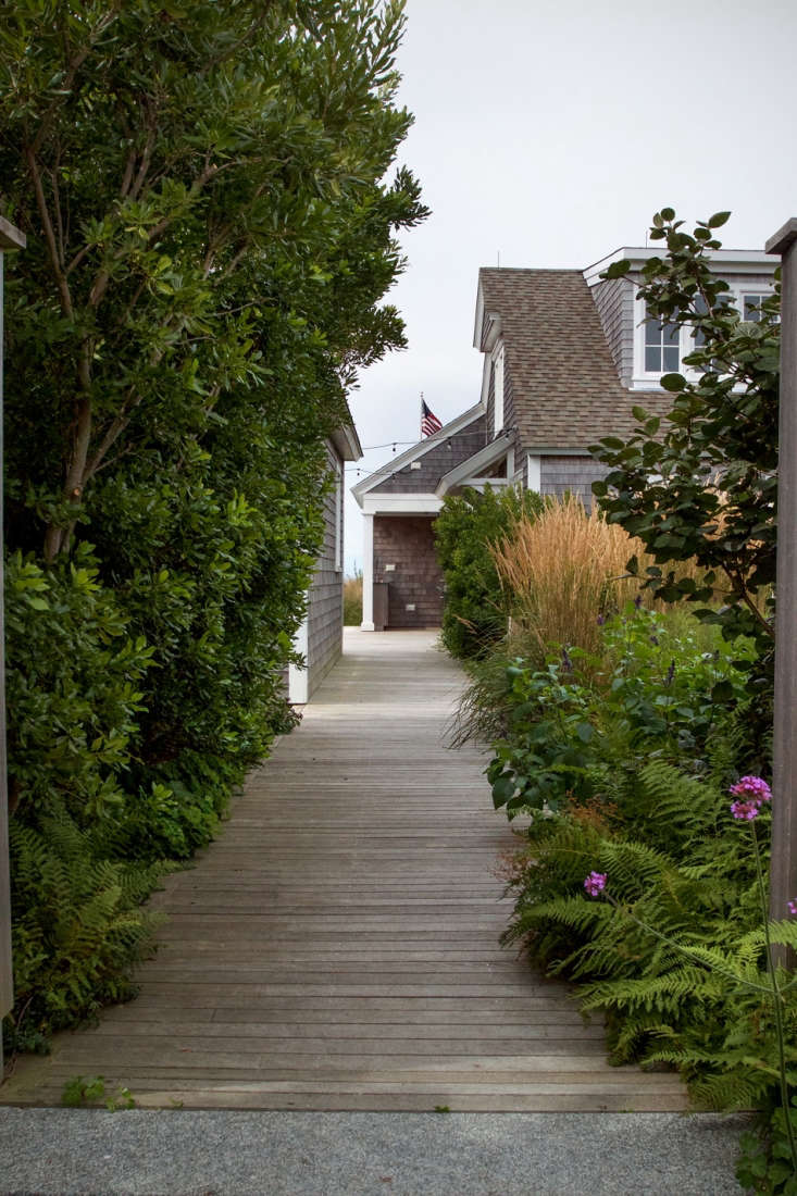 Parallel to the walkway leading to the front door, another path, lined with bay berry and ferns, takes one directly to the courtyard and beach beyond.