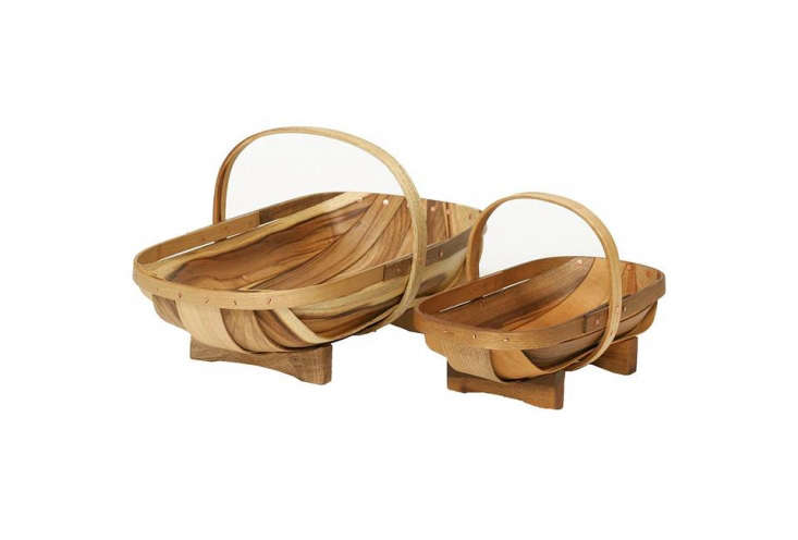 The Don & Polly Barber Wooden Garden Trug is made by a retired shipbuilder out of myrtle by \$69 for the small and \$98 for the large at Amazon.