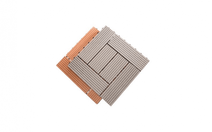 Available in two colors, six-slatHelios Deck Tiles are made of a bamboo and glue composite; \$38.39 for an \1\1-tile case from Rubber Flooring.