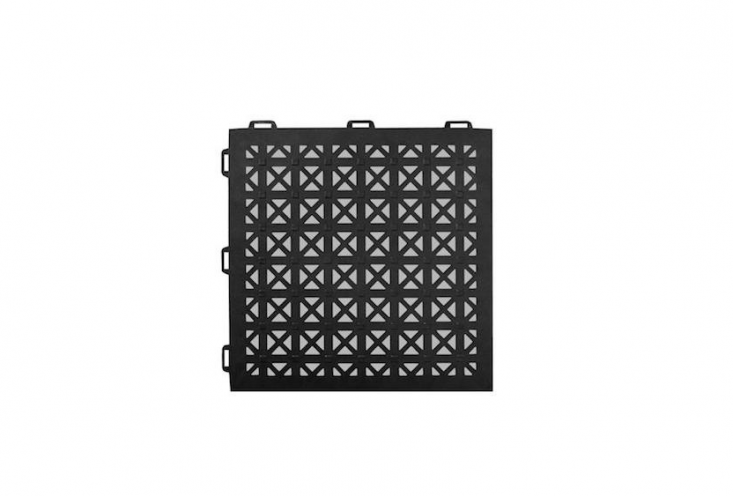 A case of \26 StayLock Perforated Black Interlocking Outdoor Floor Tiles (each tile is \1\2 inches square) made of PVC plastic is available in six colors including black as shown and is \$\154.\1\1 at Home Depot.
