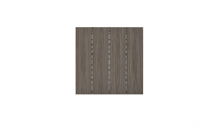 Composite slip-resistant wood interlocking deck tiles snap together; ResiDeck Simulated Wood Tiles are available in three colors (taupe, coffee, and tobacco) at \$7.35 apiece from Handy Deck.