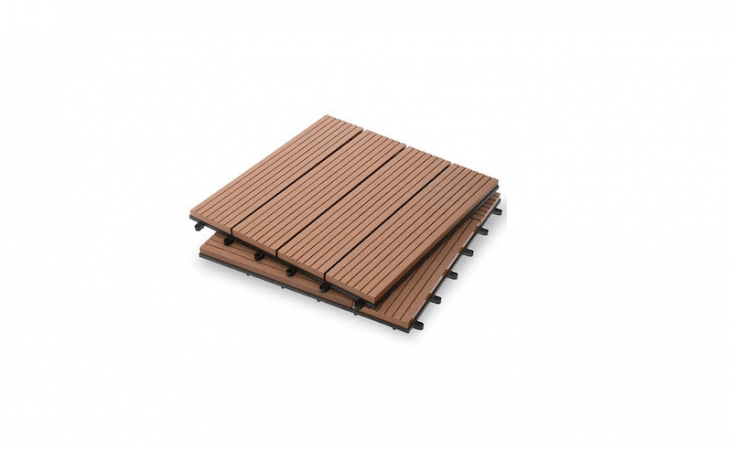 A box of \10 Four Slat Classic Composite Deck Tiles made of a mix of wood fibers and polypropylene is \$59.99 from Garden Winds.