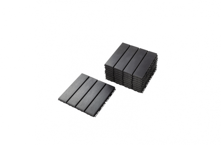 Measuring \1\1.75 inches square, Ikea&#8\2\17;s grayRunnen floor decking tiles are made of polypropylene and can be laid directly atop hard surfaces such as concrete, stone, and wood; \$\2.\29 per square foot.