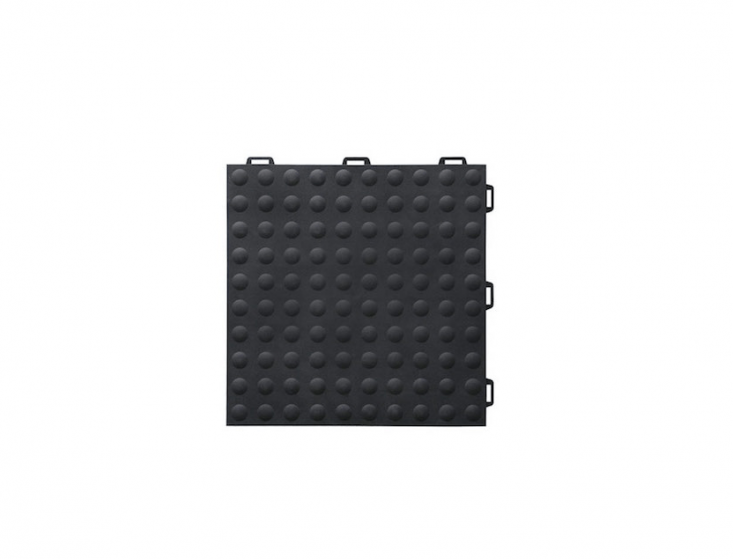 A \1\2-by-\1\2-inch interlocking StayLock Tile Bump Top Black Tile can be laid dry on top of concrete and is suitable for use as a garage floor; \$3.\19 per tile from GreatMats.