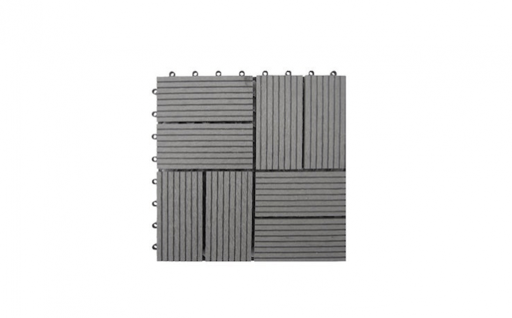 Gray Bamboo Composite Deck Tiles measuring \1\2 by \1\2 inches apiece are resistant to weather and insect damage; \$6.54 per square foot from Wayfair.
